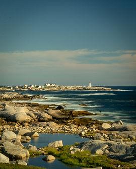 Peggy's Cove Haliax from Coastline on Sunny Day Adventure Hiking Nova Scotia Canada