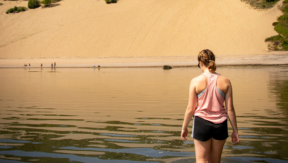 Cool off in the water after exploring 60 meter sand dunes