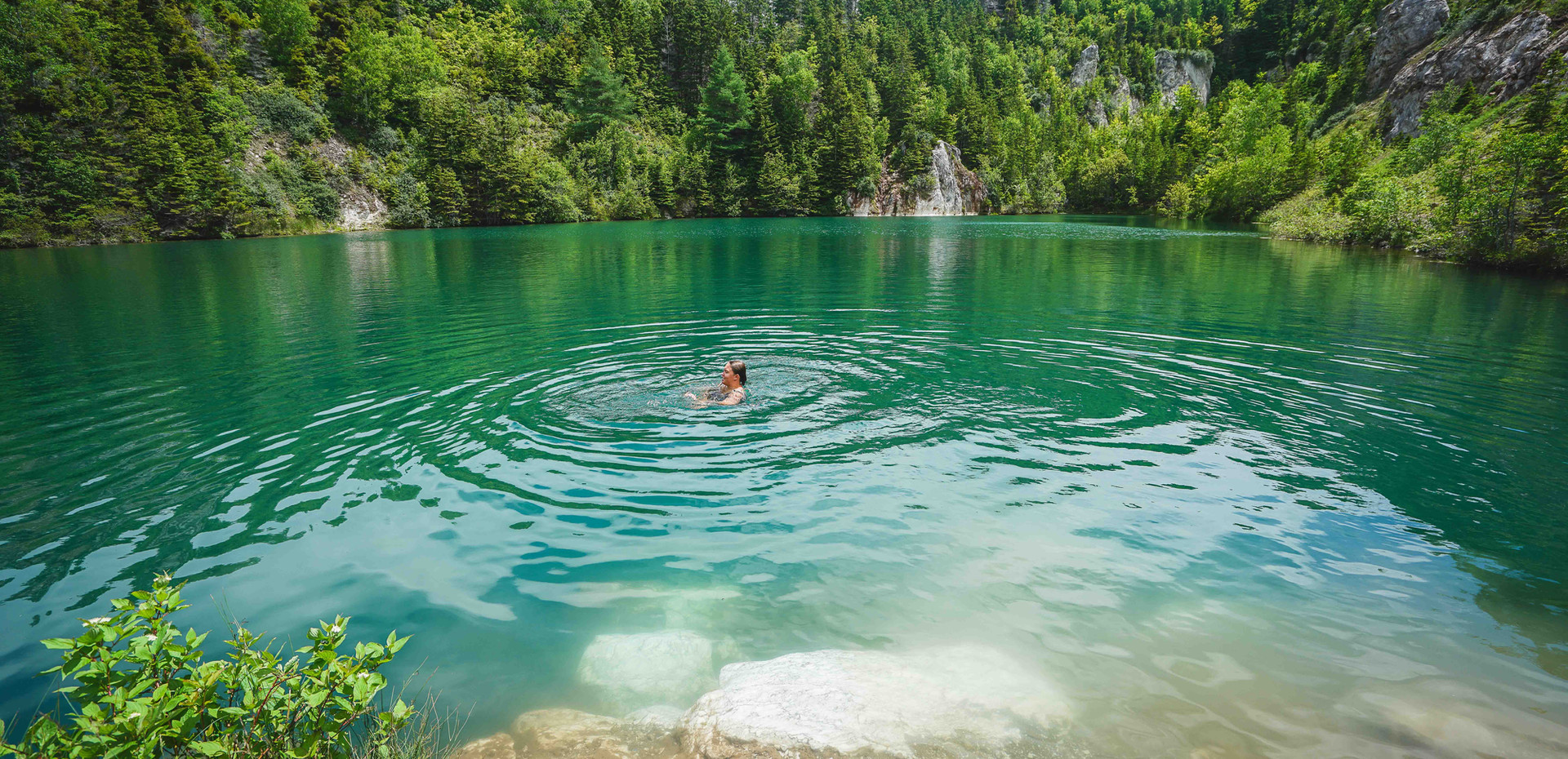 Swim in an abandoned gypsum mine