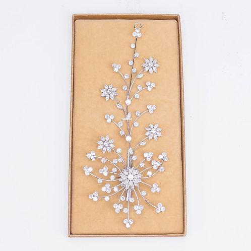 Bridal Hair Ornament Silver Sunflower