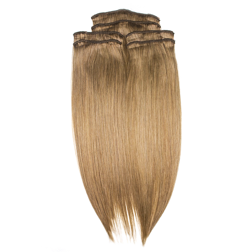 "Keira Human Hair Extensions Shoulder Length 12"" Full Head Set, Bombshell Colors"