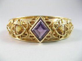 14K Gold & Amethyst Bangle