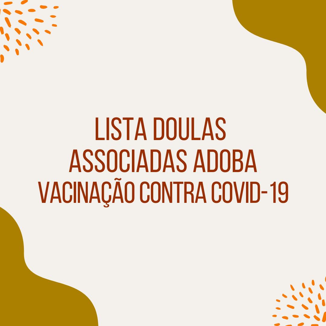 Lista Doulas Associadas ADOBA Vacinação