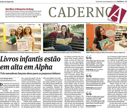 Matéria do LivrFolha de Alphaville A Pequena Sophie no Jornal