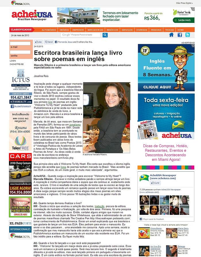 Matéria sobre o livro Welcome To My Heart publicada no jornal AcheiUsa Newspaper - Florida