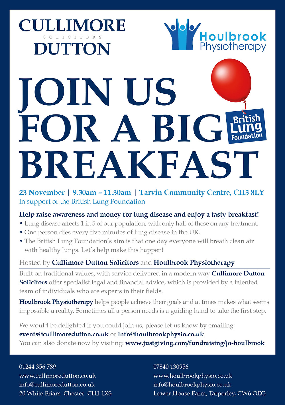 I'm very excited to be co-hosting a Big Breakfast event with Cullimore Dutton Solicitors in support of the British Lung Foundation! Please RSVP if you can make the event on the emails in the flyer and I really hope to see you there! If of course you can't make it but would still like to support the event you can donate at www.justgiving.com/fundraising/jo-houlbrook