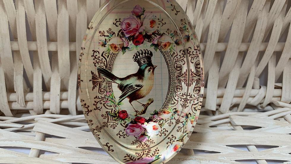 Bird Glass Oval Paperweight