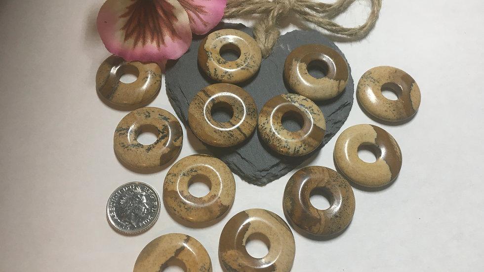 Picture Jasper 25mm Round Donut Focal Gemstone Beads