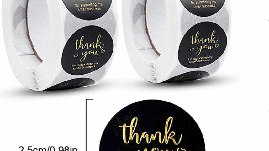Black/Gold Foiled Thank You One Inch Stickers