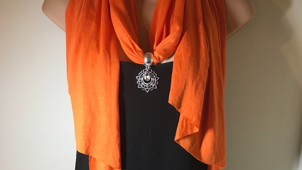 Orange Charm Pendant Scarf