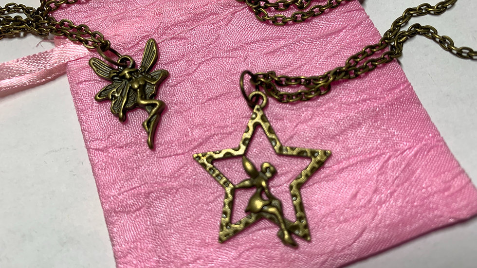Two Fairy Solid Brass Pendants