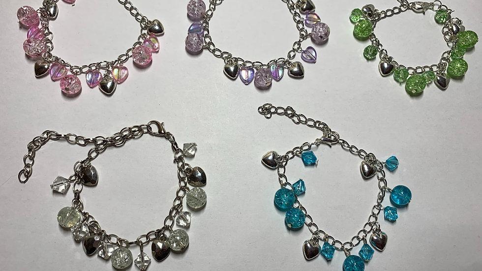 Crackle Gem Heart Bracelets