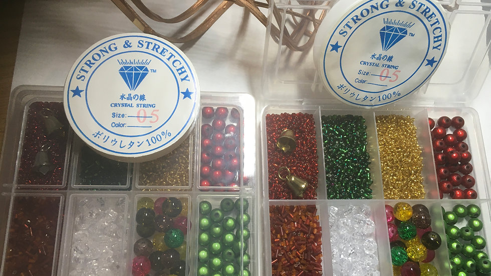 Christmas Crafts Jewellery Making Set with Beads, Box & Elastic