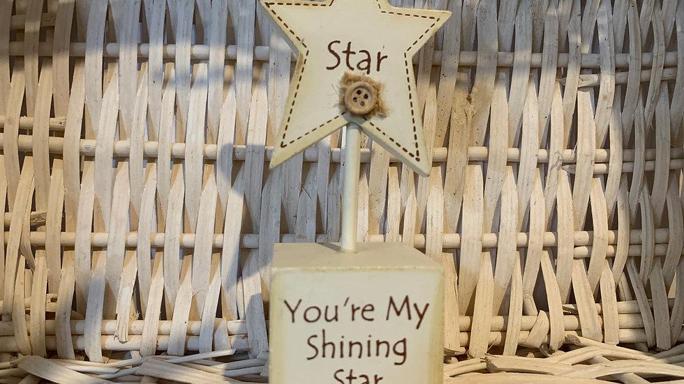 Shining Star Wooden Ornament
