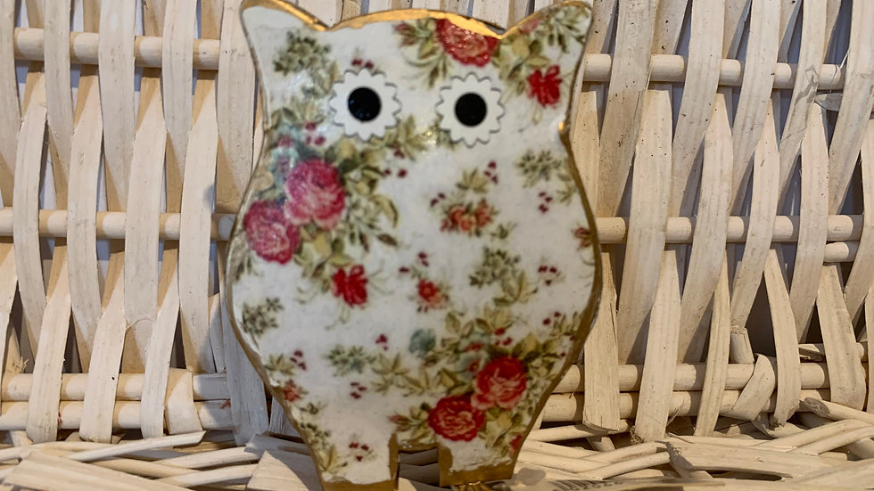 Floral Standing Owl Decoration