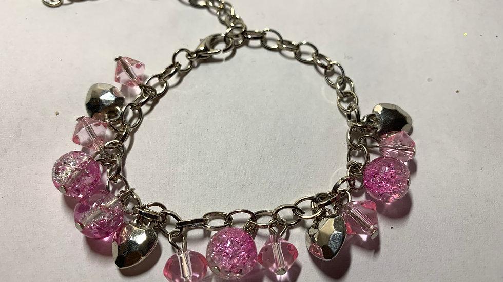 Pink Crackle Gem Bracelet