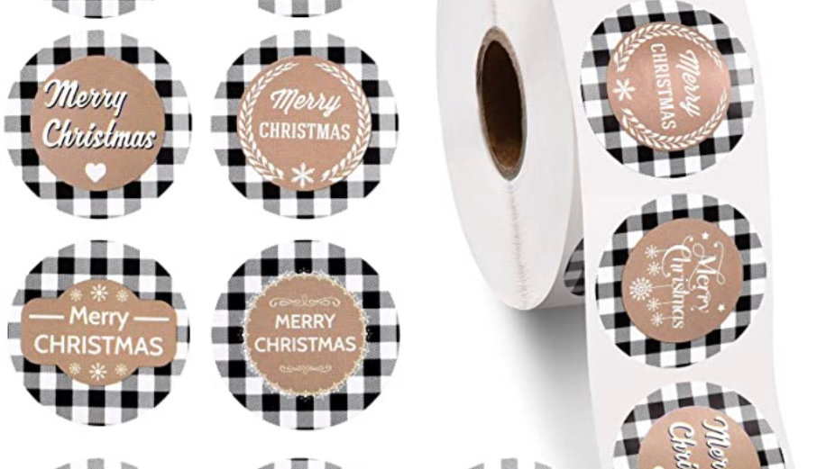 Tartan Christmas One and a Half Inch Round Stickers