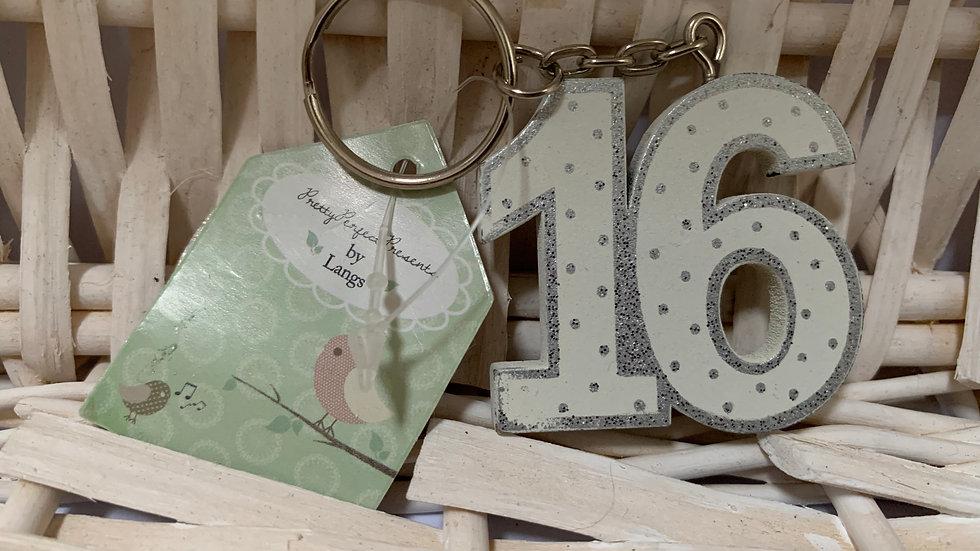 Sweet Sixteen Wooden Keyring
