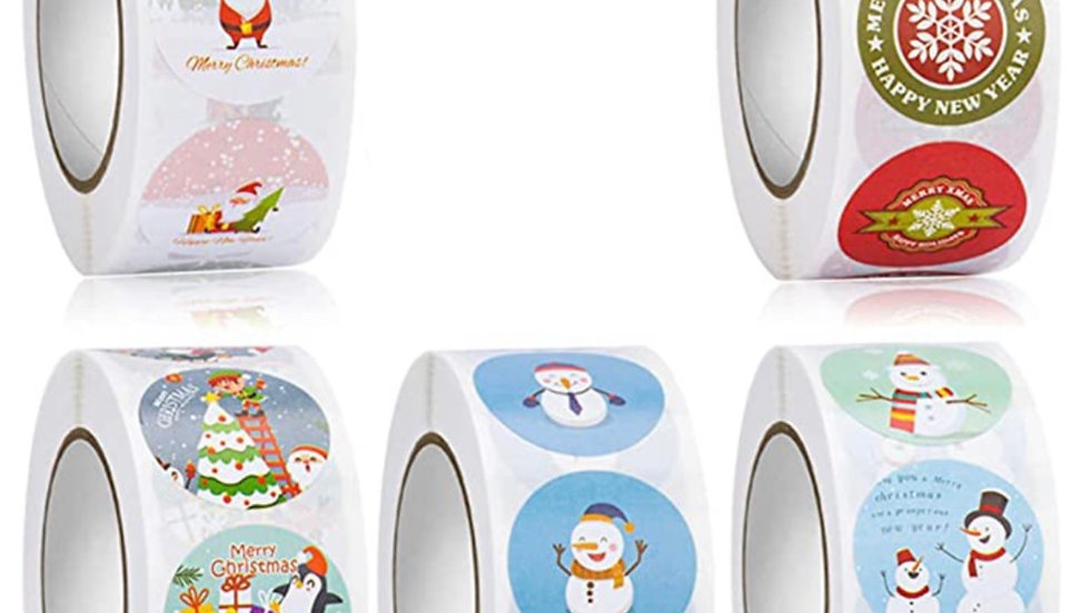Whimsical Christmas One Inch Round Stickers