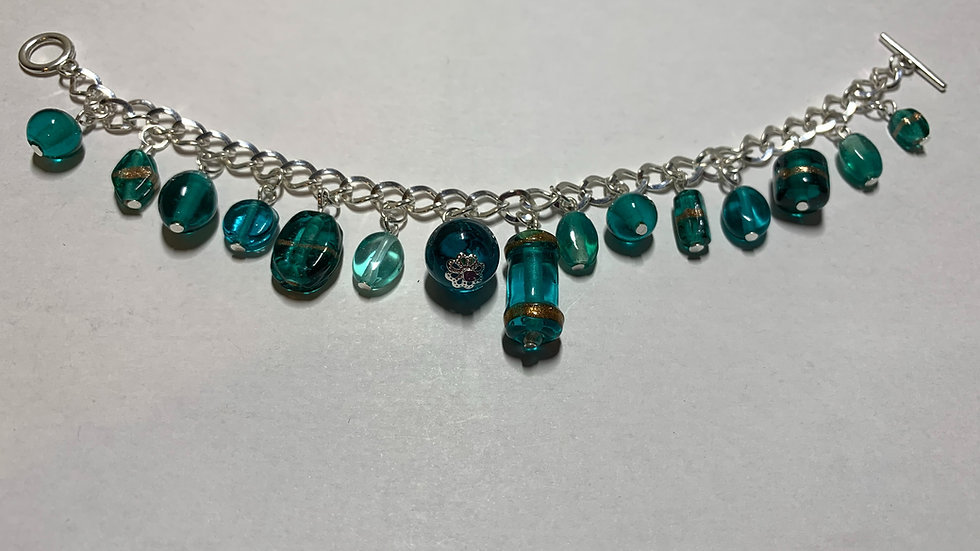 Teal Glass Chunky Charm Bracelet