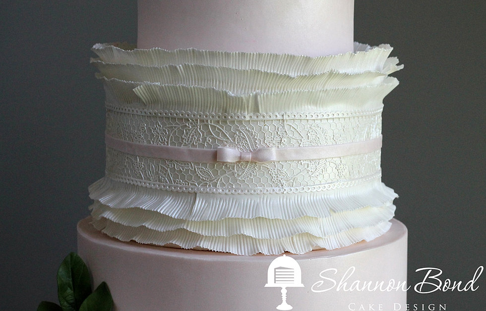 Pink Lace And Ruffle Wedding Cake
