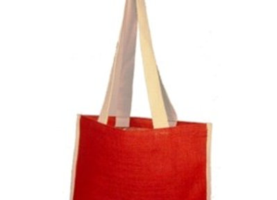 AJ9039 All natural jute tote with web handles