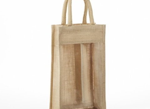 AWB2 CLEAR FRONT JUTE WINE BAG