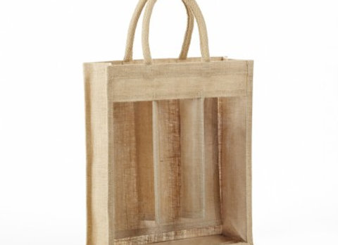 AWB3 CLEAR FRONT 3 BOTTLE JUTE WINE BAG