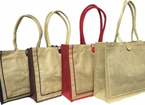 AJ912 JUTE BAG WITH COTTON HANDLES AND BUTTON LOOP