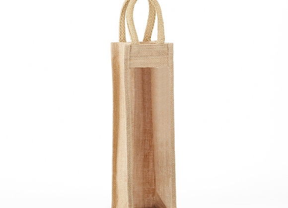 AWB1  1 Bottle Jute Wine Bag Clear Front