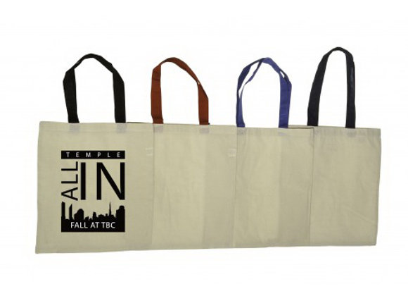 ATB6118  Economical Cotton Tote Bag Natural Body with color Handles
