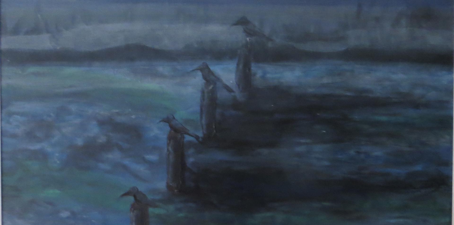2014 - olie op canvasboard 40 x 40 cm - Vogels op stok