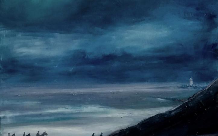 2014 - olie op doek 50 x 50 cm - Paarden op het strand