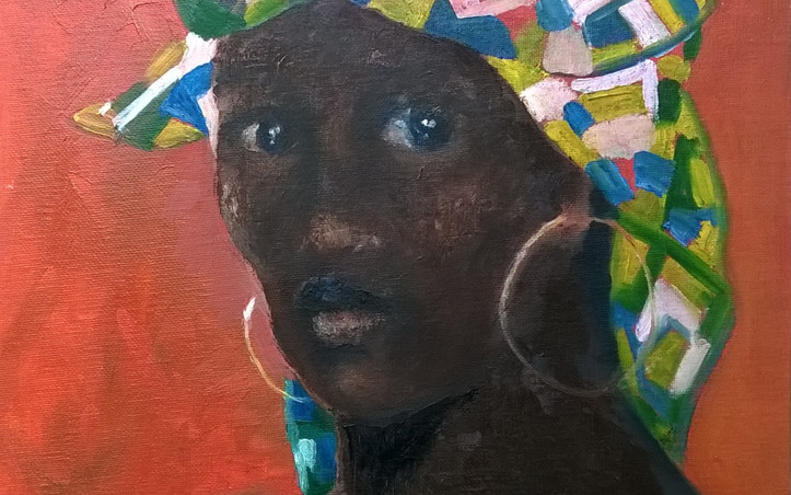 2014 - olie op canvasboard 30 x 30 cm - De hoofddoek