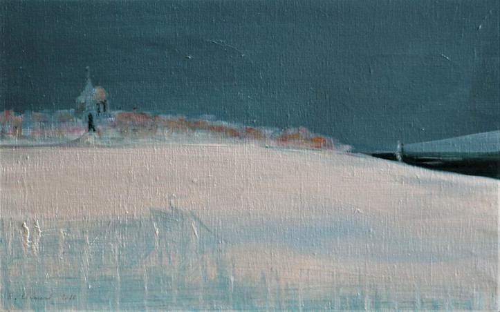2016 - olie op doek 60 x 40 cm - Vuurtoren in de sneeuw