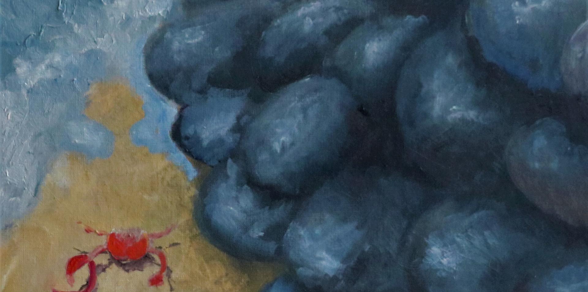 2016 - olie op doek 50 x 50 cm - Krabbeleven