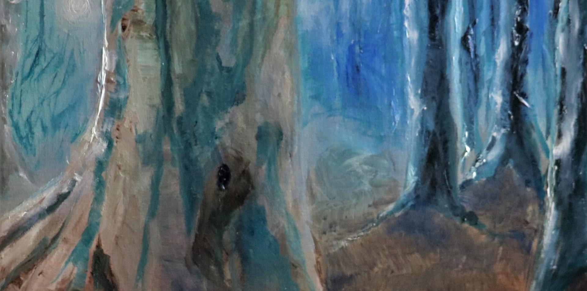 2015 - olie op doek 40 x 40 cm - De blauwe maan