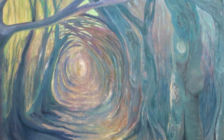 2016 - olie op doek 60 x 80 cm - Zon in de holle weg