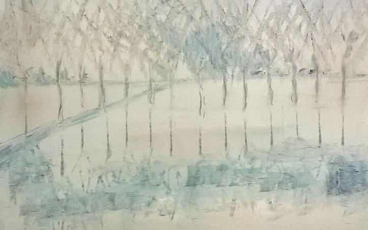 2015 - olie op hout 20 x 40 cm - Spiegelingen in het ijs