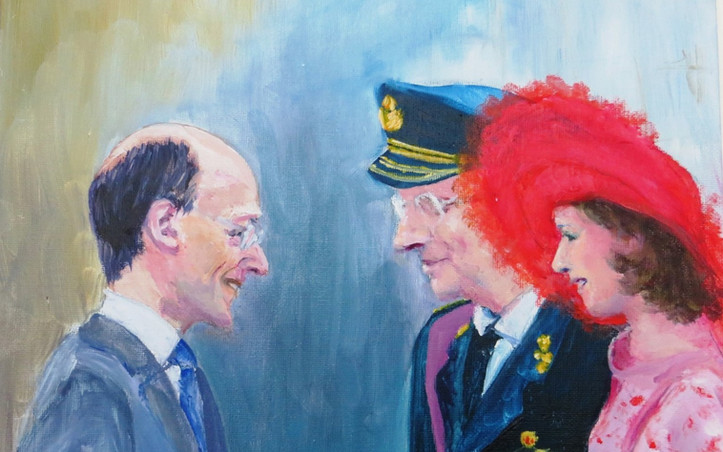 2014 - olie op canvasboard 30 x 40 cm - Koninklijke ontmoeting