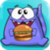 App icon for a happy hungry hamburger loving cat