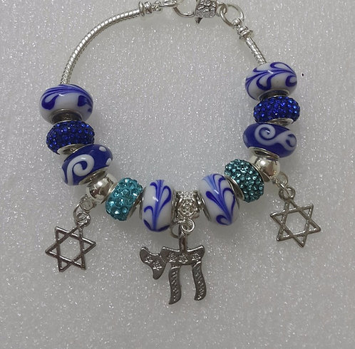 Bracelet with beads Chai and Star of David