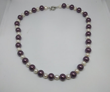 White pearls with purple beads necklace
