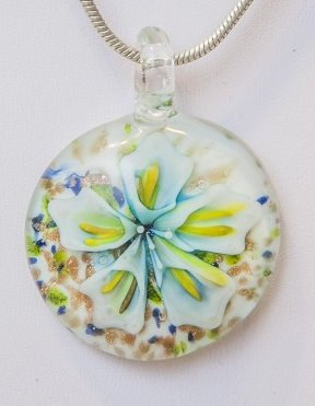 Murano Glass round with flowers