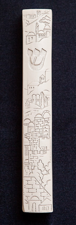 Jerusalem wood Mezuzah