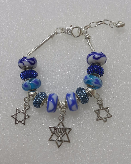 Bracelet with beads and Star of David with Menorah