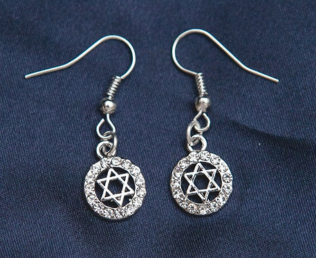 Gold/Silver with zircons Star of David Earrings