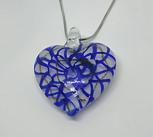 Blue heart with gold wire