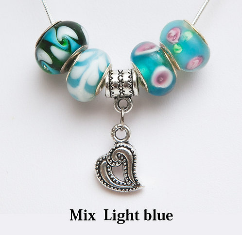 Beads necklace with open heart.
