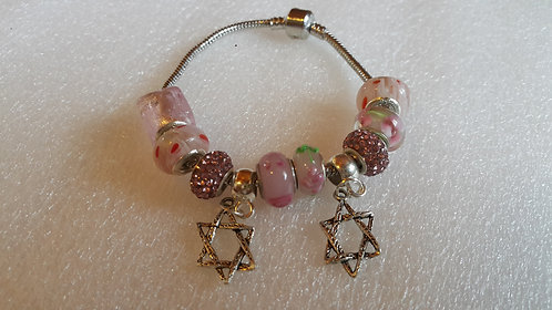 Bracelet with beads and 2 Star of David